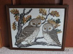 Hand worked owl tapestry