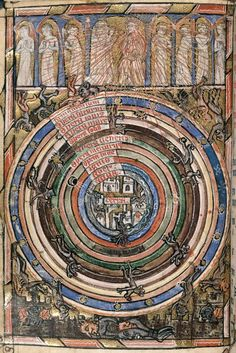 "Planetary spheres in ""The Neville of Hornby Hours"", SE England, c.1325-75; w/ God, angels, & devils"