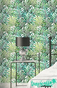Palm Leaves Pattern Wallpaper Removable Wallpaper Tropical