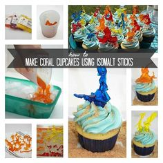 How to Make Coral Cupcakes using Isomalt Sticks for an Under the Sea Party - This is sooo cool and I had never even heard of isomalt sticks before - www.spaceshipsandlaserbeams.com