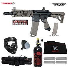 Tippmann TMC MAGFED Beginner HPA Paintball Gun Package B - Black / Tan