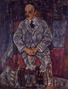 Le marchand d art Guido Arnot, huile sur toile de Egon Schiele (1890-1918, Austria)