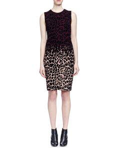 B2XSR Lanvin Colorblock Leopard-Print Sheath Dress