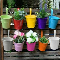 Small Flower Pots, Hanging Flower Pots, Flower Planters, Garden Planters, Planter Pots, Hanging Plants On Fence, Potted Garden, Garden Gnomes, Small Balcony Garden