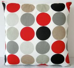 Retro dots in reds, greys, brown and white cushion Cover, contemporary designer fabric slip cover, throw pillow. $25.00, via Etsy.
