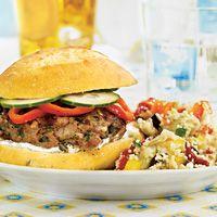 Greek turkey burgers - easy and tasty! I use mediterranean-seasoned feta cheese and leave out the oregano and pepper.  http://www.wegmans.com/webapp/wcs/stores/servlet/ProductDisplay?langId=-1&storeId=10052&catalogId=10002&productId=692170