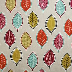 Red Orange and Duck Egg Leaves Oilcloth Wipeclean PVC Vinyl Tablecloth All Sizes
