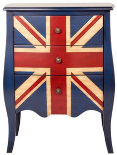 All hail the Queen:-)! Union Jack 3-drwr dresser, $215, Overstock.