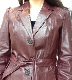 1970s Leather Trench Coat by LittleSusieVintage on Etsy
