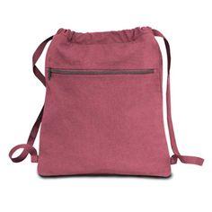 8071f58bade Pigment Dyed Drawstring Bag - Crimson - CASE OF 48