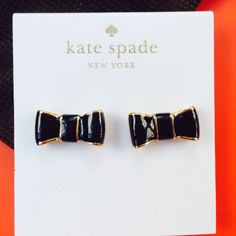 Black bow earrings Gold and black enamel, Kate Spade bow post earrings. Go with most everything. kate spade Jewelry Earrings