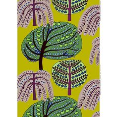The swooping shape of a weeping willow, the oblong oval of an apple tree shaken by wind, and the perky pose of an orange tree. Marimekko Sadonkorjuu Green Fabric Repeat - $73.50