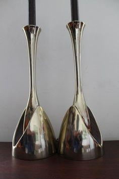 Rare Elegant XL Pair Mid Century Modern Brass Laurel Lamps