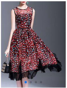Printed midi dress polka dots