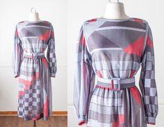 Vintage 80s Color Block Dress   1980s Secretary Dress 60s Style Mod Dress Boho Midi Dress Day Dress Avant Garde Graphic Print 80s Dress by BlueHorizonVintage on Etsy