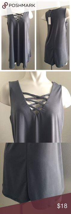 "New - Blouse This blouse looks like a dark greenish gray. 95% polyester 5% spandex. Under lining in the bust area. Size medium. Full length 31"", underarm to underarm 17.8"". Please ask questions if you are not sure Bailyblue Tops Blouses"