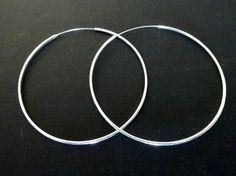 Sterling Silver Hoop Earrings Large Hoops by PlanetEarthHandmade