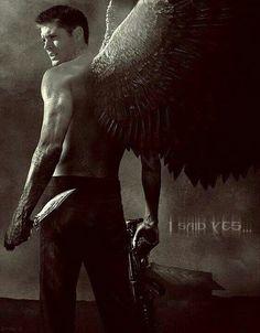 Supernatural Fan Art ~ Dean Winchester as an angel with a shotgun Supernatural Fans, Jensen Ackles Supernatural, Winchester Boys, Winchester Brothers, Demon Dean Winchester, Fantasy, Ange Demon, Hommes Sexy, Angels And Demons