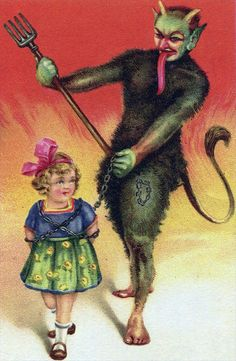This is an old Krampus lithograph probably from around 1900. Featuring both human feet, a pitchfork, and NO bundle of birch sticks.