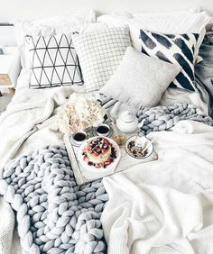 Image about white in room inspo by Bed Goals, Room Goals, My New Room, My Room, Future House, Stay In Bed, Breakfast In Bed, Morning Breakfast, Morning Coffee