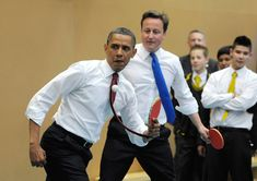 President Obama and Britain's Prime Minister David Cameron play table tennis at the Globe Academy on May in London. Barack Obama and his wife Michelle are in the UK for a two-day State visit at the invitation of HM Queen Elizabeth II. Michelle Obama, Black Presidents, Greatest Presidents, David Cameron, Famous Left Handed People, Famous People, Barack Obama Family, Mr President, Photo Story