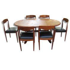 Ensemble de 6 chaises et table de salle à manger scandinave en teck années 60…