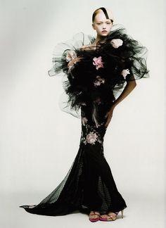 Gemma in black tulle & roses.