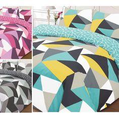 Bright & Retro Duvet Cover with Geometric Shapes Print - Reversible Bedding Set
