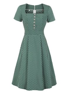 Green Dot Square Neck Button Dress Green Dot Square Neck Button Dress – Retro Stage - Chic Vintage Dresses and Accessories Royal Dresses, 1940s Dresses, Elegant Dresses, Pretty Dresses, Sexy Dresses, Beautiful Dresses, Casual Dresses, Dresses For Work, Summer Dresses