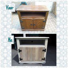 oud houten tv meubel gerestyled, de deurtjes zijn vervangen door deurtjes van pallethout
