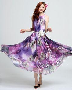Chiffon Purple Flower Long Party Dress Evening Wedding Lightweight Sundress Summer Holiday Beach Dress Bridesmaid Dress Maxi Skirt MD03      Detail