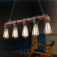 Vintage pendentif de métal lampe de tuyau d'eau Steampunk lampes E27 ampoules suspension entrepôt Bar contre d'éclairage lampes(China (Mainland))