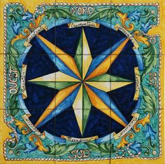 Hand Painted Tiles Compass Rose - Compass Star - Nautical Decor - Wall Mural - Floor Tiles - Mosaic Tiles - Tile Floor Medallion * This hand painted mural is a total of 9 tiles each at 8x 8 - ( 20x20 cm) * Measuring total approximately 23.6x 23.6 - (60x60 cm) Our Glazed Tiles are