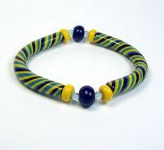 Striped Bangle Bracelet  Polymer Clay  Stretch Cord  by MyStudio91, $15.00