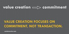 Value Creation focuses on commitment, not transaction.