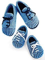 """These slippers and booties look like a pair of tie shoes and work well for men, women and babies. They are perfect for """"Mommy and me"""" looks too! Booties are written in sizes months and are made using a DK-weight yarn. The sl. Crochet Slipper Pattern, Knitted Slippers, Crochet Baby Booties, Slipper Socks, Crochet Slippers, Crochet Patterns, Crochet Supplies, Hand Crochet, Crochet Crafts"""
