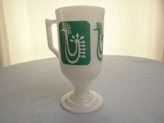 Vintage Footed Milk Glass Cup with Aqua Rooster by theoldmilkbarn on Etsy