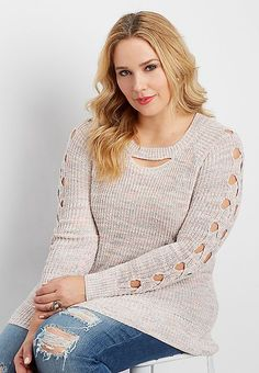 plus size marled pullover sweater with open cable knit sleeves | maurices