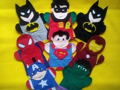 Inspired by- Batman, Robin, Superman, Spiderman, Iron Man, Hulk, Captain America Puppets
