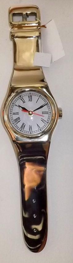 """Orologio da murostile Anni """"70In AcciaioRealizzato come un orologio da polso!Misure cm 55x14x4 h!!!Old Style!!"""