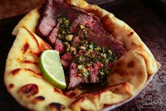 Turkish Spiced Tri-Tips w/ Lime Chimmichurri on Naan[OC][2590x1797] via Classy Bro