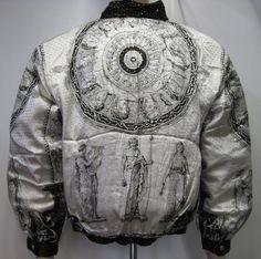 Vintage 90's Baroque style Bomber Jacket Metallic Silk HIERARCHY style, White/Gold ,100% Metallic Silk , Versace Style inspired,size Medium