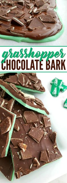 This Grasshopper Chocolate Bark features the irresistible combination of Mint and Chocolate. This melt-in-your-mouth treat is love at first bite! A great St. Patricks's Day Recipe!