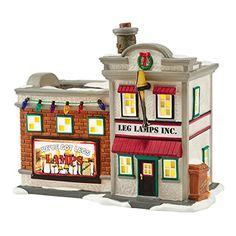 """From the Department 56 A Christmas Story Village Collection Item """"Leg Lamp Factory"""" lighting building Officially licensed merchandise Interior lighting illuminates building white lead cord with on/off switch Comes gift boxed Collector notes: Christmas Story Leg Lamp, Christmas Train, Christmas Store, Christmas Village Houses, Christmas Villages, Department 56, Dept 56 Snow Village, Classic Christmas Movies, Christmas Trimmings"""