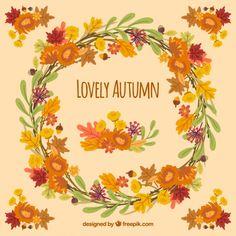 Hand drawn autumn wreath  Free Vector