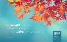 October 2016 - Take delight in the Lord