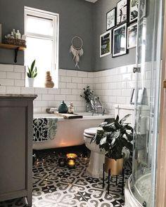 Monochrome bathroom with patterned tiles and roll top bath … – Bathroom Furniture – Bathroom Ideas Bathroom Counter Decor, Bathroom Red, Bathroom Furniture, Bathroom Interior, Small Bathroom, Bathroom Wall Tiles, Bad Inspiration, Bathroom Inspiration, Bathroom Inspo