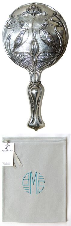 """Art Nouveau sterling silver hand mirror.  SherwoodSilverBags' 9"""" x 12"""" anti-tarnish silverware storage bag is the perfect size for this.  Available in black, navy blue, and light gray.  Choose Art Deco or script embroidered monogram."""