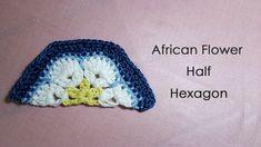 アフリカンフラワーモチーフの編み方(半分 1/2) * African Flower Half Hexagon Crochet Motif *