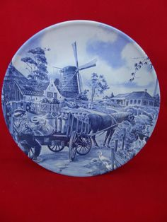 Delft Blauw Handpainted Ter Steege B.V. Plate - Horse with Cart